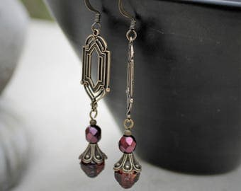 Dangle Earrings - Antique Brass, Art  Deco, Bohemian Czech Glass, Fuchsia Pink