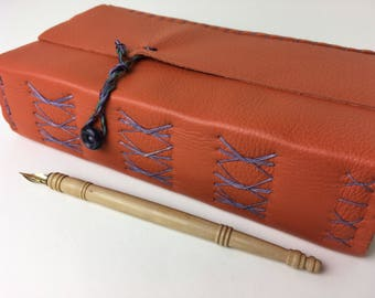 Leather Art Journal, persimmon orange leather-wrap journal,  plein-air art journal with mixed-media art papers, large leather art journal
