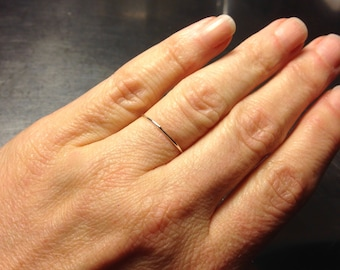In Stock- Size 7.5 & 7.75 - 0.8mm super ultra thin Sterling Silver Band Fully Round Slim Dainty little stacking spacer ring Ready to Ship