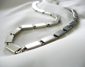 Rectangle Link Chain Necklace, Accessocraft N.Y.C., Vintage 1970s, Minimalist, Modern, Stainless Steel26, Designer, Unique Unusual Jewelry