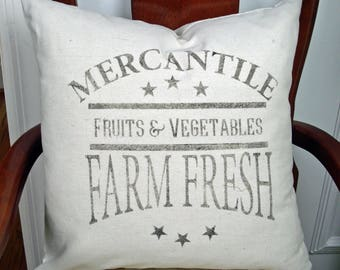 Farmhouse Pillow Cover Farm Fresh Fruits & Vegetables Rustic Farmhouse Decor Zipper Closure with or without insert