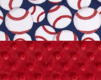 SALE Minky Baby Blanket boy / Personalized Baby Blanket / Red Blue Baseball  // Baseball Baby Blanket // Name Baby Blanket / Baby Bedding