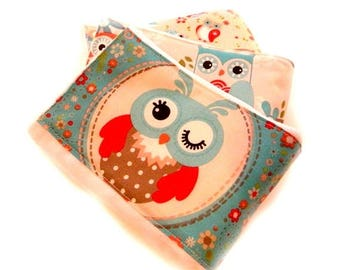 SALE Owls Girl Burp Cloths - Turquoise Red Coral Gray- Set of 3 // Cotton Burp Cloth / Baby Shower Gift