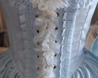 Light blue Marie Antoinette Victorian inspired rococo costume dress