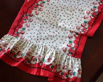 Ruffled Santa Cotton Table Runner - Different Lengths Available - Christmas Table Runner