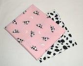 Kuh Print Stoff, Quilten, FQ, rosa, schwarz, weiß, Kuh-Flecken, Baumwolle, Kühe, Bauernhof-Drucke