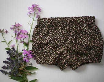 Baby Girl Bloomers | Floral Baby Bloomers | Brown and Pink Baby Bloomers | Bubble Shorts | Baby Diaper Cover | Toddler Bloomers | Baby Short