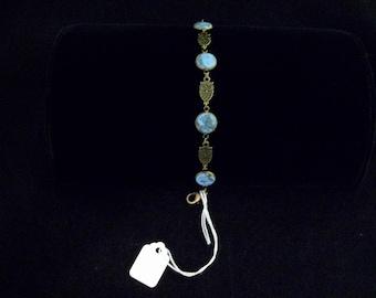 Faux turquoise owl bracelet  - free shipping