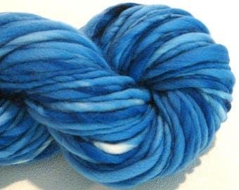 Bulky Handspun Yarn Almost Solid Bright Blue 90 yards blue yarn hand dyed merino yarn waldorf doll hair knitting supplies crochet supplies