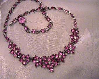 Vintage BOGOFF Rose Pink Rhinestone Flower Necklace.