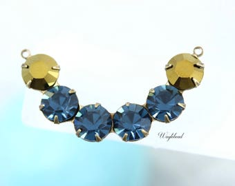 Crescent Swarovski Crystal Rhinestones Connector Link Pendant 41x8mm Gold & Montana Blue  - 1