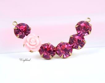 Crescent Crystal Rhinestones Connector Link Pendant 41x8mm Light Pink Flower & Rose Pink - 1