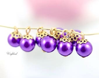 Purple Vintage Plastic Luster Faux Pearl 8mm Round Filigree Bead Caps Charms Dangles Drops  - 6