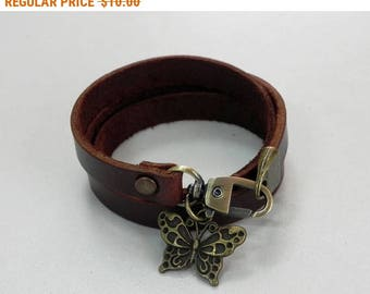 Brown Leather Bracelet Leather Charm Bracelet Leather Cuff with Metal Butterfly Charm Bronze Tone