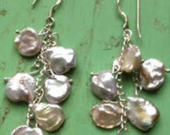Sterling Silver Kashi Button Pearl Drop Earrings
