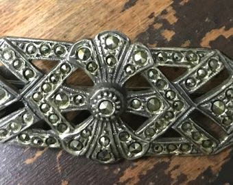 Vintage Art Deco Style Sterling Silver Marcasite Brooch Pin
