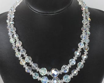 Two Strand AB Crystal Choker Necklace Faceted Graduated Beads
