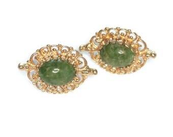 14K Yellow Gold Jade Earrings Filigree Setting Posts Vintage