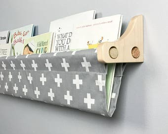 Kids Bookshelf - Book Sling and  Wooden Brackets - Gray and White Swiss Cross Wall Organizer - Choose your size