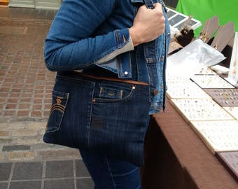 recycled denim bag, jeans bag, denim purse, fcuk, upcycled, man bag, jeansbag, envelope bag, repurposed denim  denim clutch,kindle,tablet