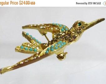 Sale 15% ART Bird Brooch Seed Pearls Rhinestones Turquoise Beautiful Gold Tone