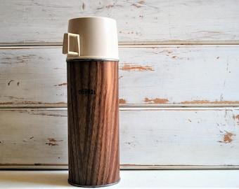 Vintage Thermos, Vintage Brown Thermos, Retro Thermos, Vintage Picnic Thermos, Wood Grain Thermos, Vintage Winter Decor