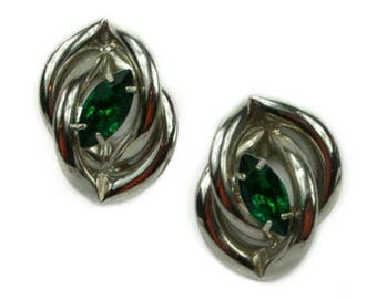 1980s Silver Tone Intertwined Twisted Bar Tube Emerald Green Rhinestone Vintage Pierced Post Back Vintage Earrings
