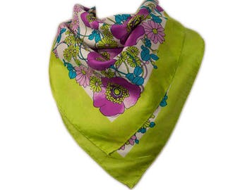 1970s Mod Shades of Pink Blue Chartreuse and White Floral Flower Power Wildflower Square Vintage Polyester Scarf