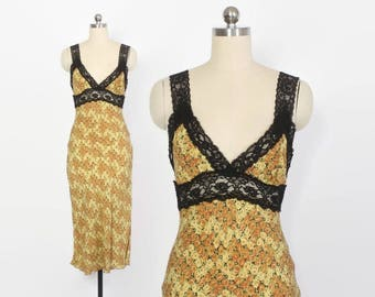 Vintage 90s BETSEY JOHNSON Dress / 1990s Yellow Roses Bias Cut Slip Dress XS - S