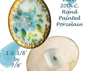 OH BOY SALE Button--Early 20th C. Oval Hand Painted Porcelain Forget-me-nots in Gold Border