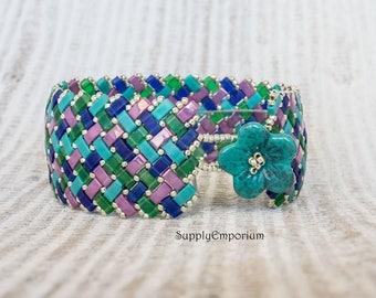 Half Tila Herringbone Beadwoven Bracelet with Czech Glass Flower Button Close, Wide Half Tila Beaded Bracelet