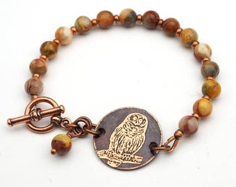 Warm pastels owl bracelet, smetal etching, Venus jasper beads, multicolor lavender brown grey, 7 1/4 inches long
