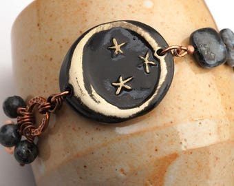 Night sky bracelet, moon and stars, ceramic and copper, Norwegian moonstone beads, 8 1/4 inches long plus size jewelry