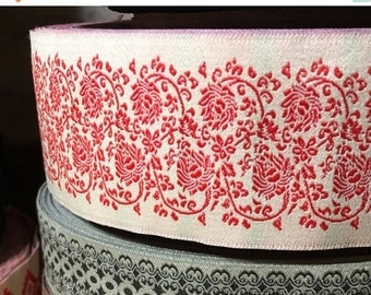 """Christmas Sale Vintage Jacquard Sewing Trim RED ROSE Floral Wide Upholstery 1.75"""" by the yard Romantic"""