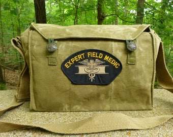 Trendy Vintage Czech Canvas Military Messenger Medic Bag.