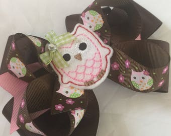 Owl fall boutique  girls hair bow pink brown ribbon