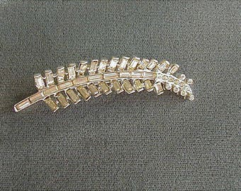 Vintage Crystal Rhinestone Feather Brooch Pin