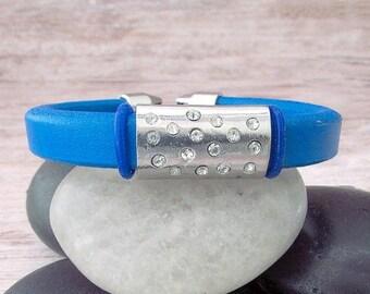 Ladies Leather Cuff Bracelet - Blue Leather Cuff Bracelet - Ladies Leather Bracelet - Blue Leather Bracelet - Leather Stacking Bracelet
