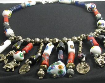 Distinctive Vintage Boho Tribal Ethnic Beaded Necklace