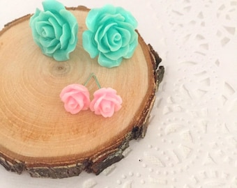 SET of SIX. Small and large rose earring, bridesmaid, maid of honor gift, ask bridesmaid box.
