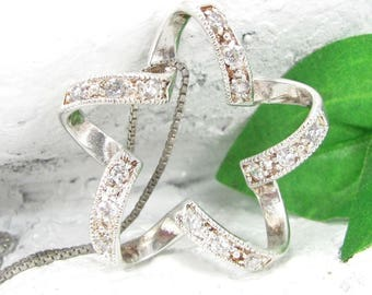 Vintage STERLING CZ STAR Charm Necklace Silver Eternity Pendant Chain