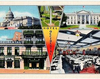 Washington DC Vintage Postcard - The Occidental and DC Landmarks (Unused)