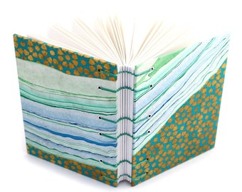 Green and Gold Inlay Journal 2 of 2 -  Handmade book by Ruth Bleakley with marbled and stamped paper covers