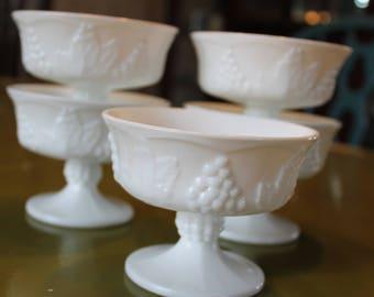Set of 5 Vintage Indiana Harvest Grape Milk Glass Pedestal Sherbets