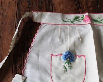 Vintage Embroidered Linen Apron, NOS, Unused