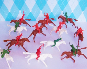 1960s Twelve Tiny Cowboys and Native Americans on Horses Mini Figurine Toys Vintage 1 1/2 inches