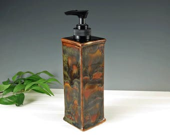 Ceramic Soap Dispenser - Dish Soap Dispenser - Shades of Brown Liquid Soap - Hand Soap Pump - Handmade Bathroom Decor - Kitchen Decor - 460