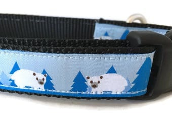 Dog Collar, Polar Bear, 1 inch wide, adjustable, quick release, metal buckle, chain, martingale, hybrid, nylon