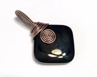 Handmade wire wrapped pendant Black Onyx