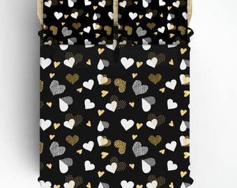 Custom  Hearts Bed Sheets and Pillowcases, black with white and gold hearts, Top Flat, Fitted and pcase - queen size